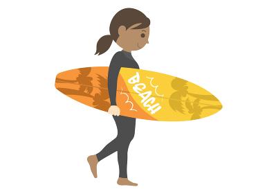 女性サーファーのイラスト