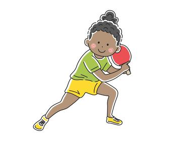 卓球をする黒人女性のイラスト