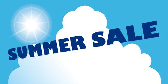 販促サマーセール販促夏のイメージの縦型バナー素材|背景イラスト 青空と白い雲と太陽