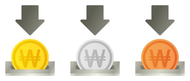 金銀銅の韓国ウォンコイン投入口