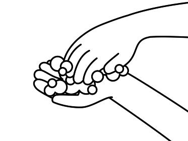 手洗い 爪の間や指先 白黒