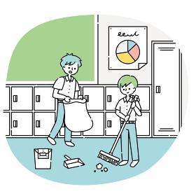 教室の掃除をする男子生徒たち