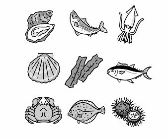 魚介類いろいろ セット モノクロ