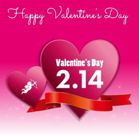 ハートにリボンとチョコレートイラスト_バレンタイン販売促進用バナーポスターポップテンプレート