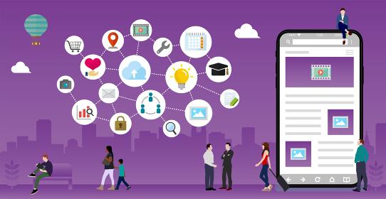 スマートフォン(ITビジネス・グローバルネットワーク) イメージバナーイラスト