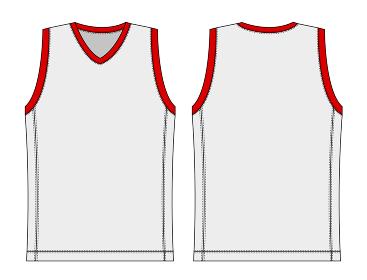 タンクトップ・ノースリーブシャツ・バスケットボールユニフォーム テンプレートイラスト