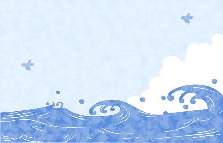 夏の背景素材、海と入道雲と青空とカモメ