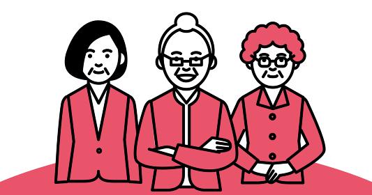 ビジネスチーム 年配女性 3人