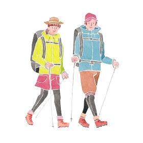 登山 ハイキング トレッキング 人物 男女 水彩 イラスト