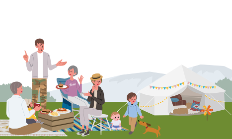 キャンプをする三世代親子のイラスト ピクニック