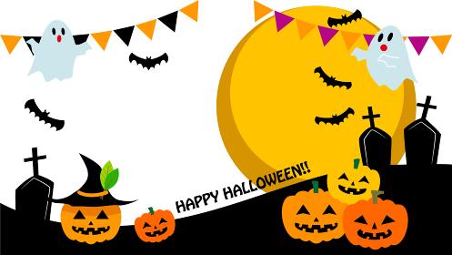 ハロウィンのかぼちゃとお化けのイラスト