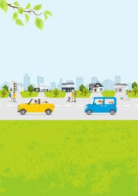 春の住宅街 新緑 車、人物つき 縦長A4比率