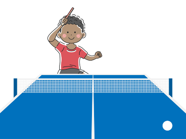 卓球をする黒人男性のイラスト
