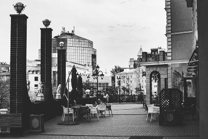 Landscape of urban architecture in black and white