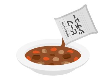 インスタント食品のビーフシチューのイラスト