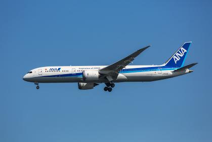 着陸態勢でギアをダウンしている旅客機(大田区/東京)