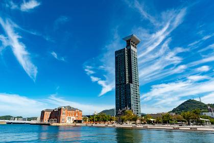 夏の青空の美しい門司港レトロ(福岡県北九州市)