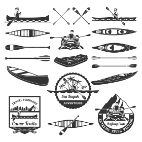 Rafting Canoeing And Kayak Elements Set. Sea kayak adventures emblems and extreme river rafting equipment elements black icons composition abstract isolated vector illustration