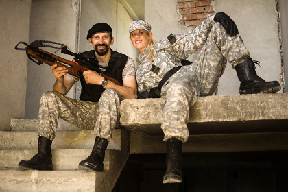 male and female military persons