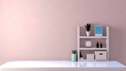 白い部屋 デスク 棚 収納 3DCGインテリア ポスター