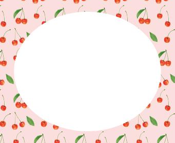さくらんぼ サクランボ チェリー ピンク 模様 枠 手描き イラスト