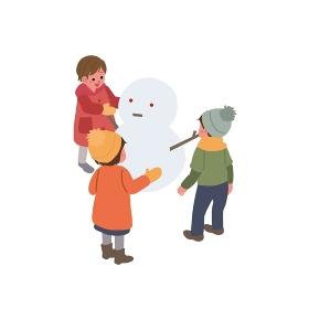 アイソメトリック 雪遊びをする子ども イラスト