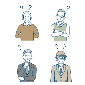 年配の男性 シニア 高齢者 人々 考える 疑問 ? ポーズ 仕草 イラスト素材