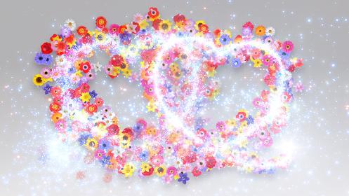 ハート 花 フラワー キラキラ スパーク パーティクル 花火 3D イラスト 背景 バックグラ