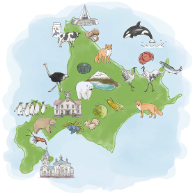 北海道観光名産水彩イラストマップ