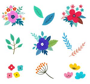 花と花束のイラストセット 春の植物による手描きテイスト