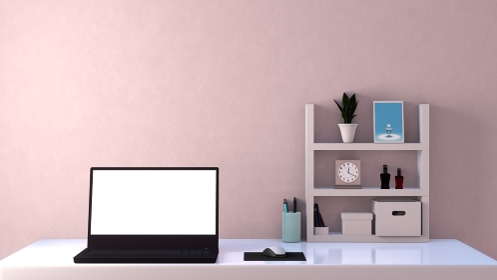 白い部屋 ラップトップ デスク 棚 3DCGインテリア ポスター