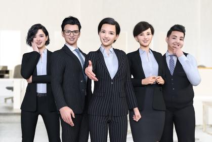 笑顔の5人の男女の会社員がで並んで立ち中央のビジネスウーマンが手を差し伸べる