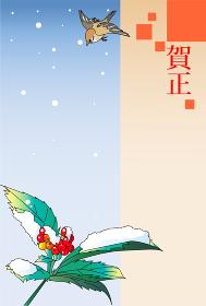 年賀状テンプレート,赤い実と雪と雀