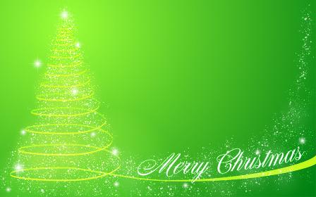 キラキラしたクリスマスツリーのメッセージカ