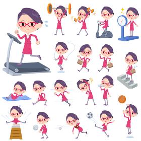 red glasses office women_exercise
