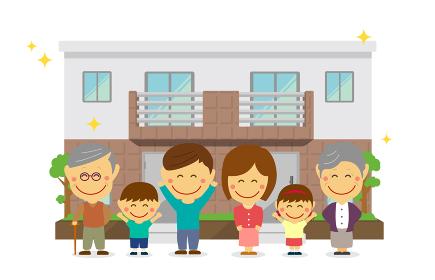 2世帯住宅(新築)と親子3世代家族イラスト/喜び (両親・親子・祖父母 同居)/デフォルメ・二頭身