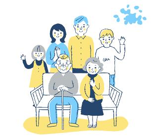 ベンチに座る老夫婦と家族