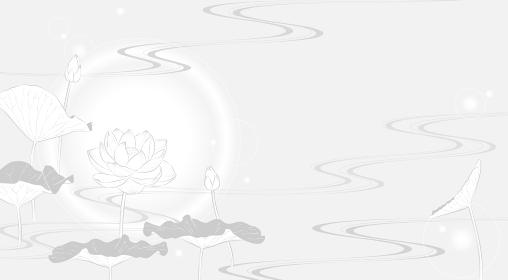 流水に蓮の花の背景イラスト(薄墨風)