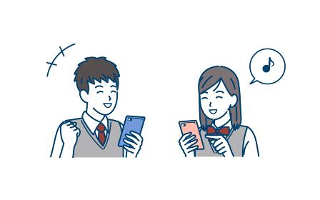 スマートフォンを使う学生 笑顔 喜ぶ 携帯電話 中高生 高校生 中学生 男女 イラスト素材