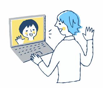 オンラインで親と話す男性