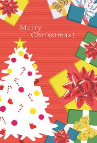 クリスマスカード 縦 モミの木とプレゼント 赤背景