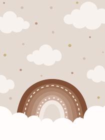 ナチュラルトーンの虹と雲の背景、縦型バナー素材