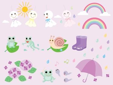 梅雨のてるてる坊主やアジサイや蛙のイラストセット