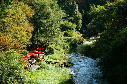 山中温泉のあやとり橋から見た赤い日よけの川床
