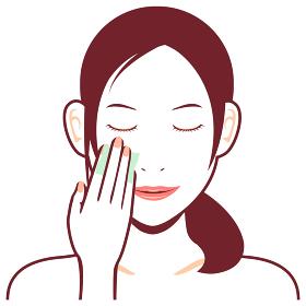 若い日本人女性 上半身イラスト / 化粧落とし・コットン