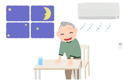 エアコンをつけて涼む老人のイラスト