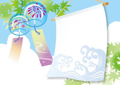 夏の涼しげな水彩ののれんイラスト