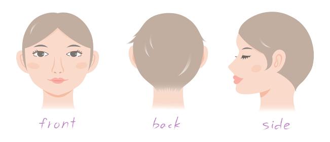 ボディパーツ・シンプルな頭部と顔(正面・後ろ向き・横向きのセット)のイラスト素材・女性向け