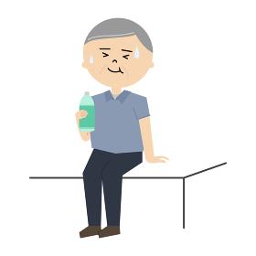 水分補給をしているシニア男性のイラスト (全身)
