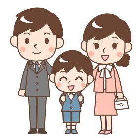 入学式の親子 息子と両親